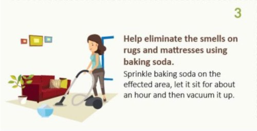 Using baking soda to eliminate odors in mattresses and rugs