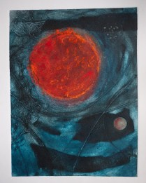 Collagraph with pastel