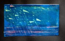 Linocut printed over acrylic background