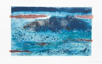 Collograph plate with chine colle and burnt texture