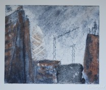 Collagraph plate developed with some areas left as ghosts and some areas rolled or rubbed with a second colour.