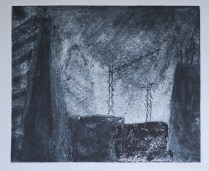 Collagraph using a variety of mediums, some burnt for extra texture, with some drypoint