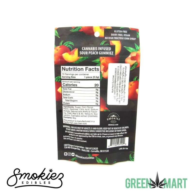 Smokiez Edibles THC Gummiez - Sour Watermelon Back