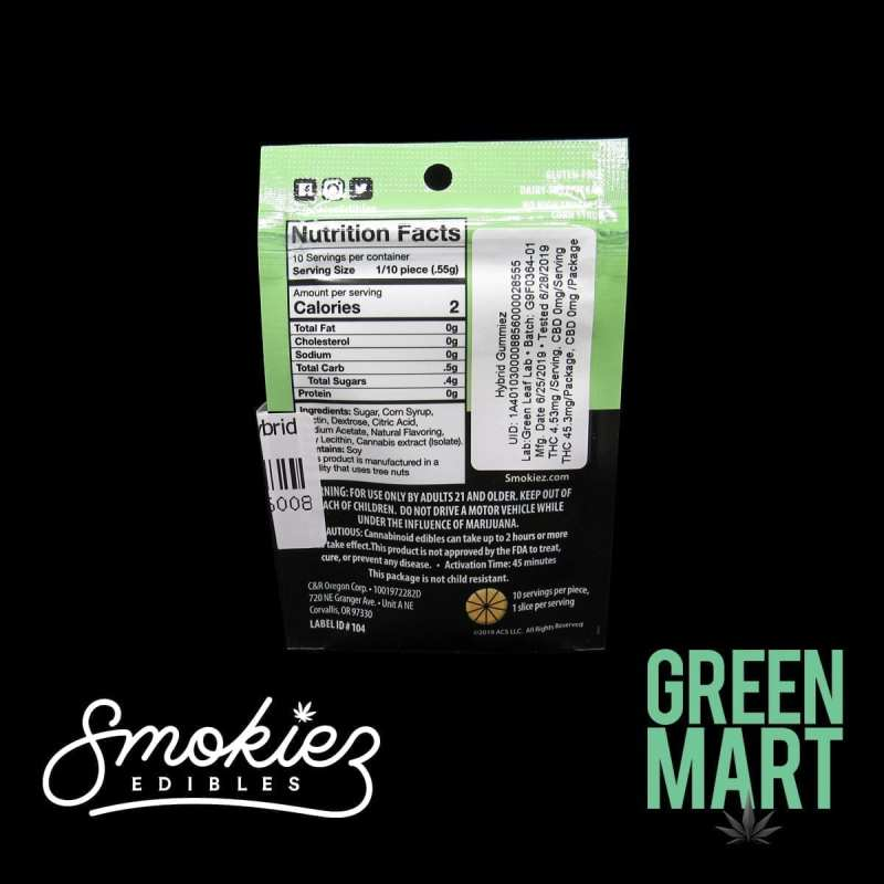 Smokiez Edibles - Sour Grapefruit Gummies Single Back