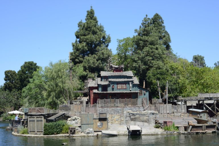 Tom Sawyer Island and Pirate Lair surrounded by the Rivers of America at Disneyland