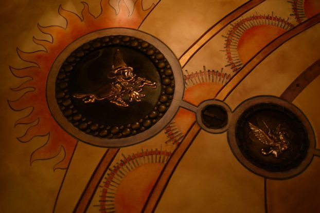 Sorcerer's Workshop - Mickey Metal Sculpture on the ceiling of Animation Courtyard in Disneyland