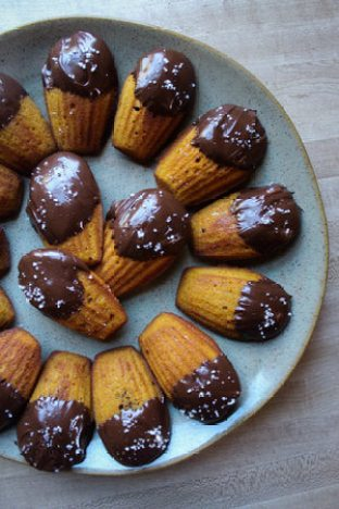 Pumpkin Madeleines with Dark Chocolate and Sea Salt | Fig & Bleu