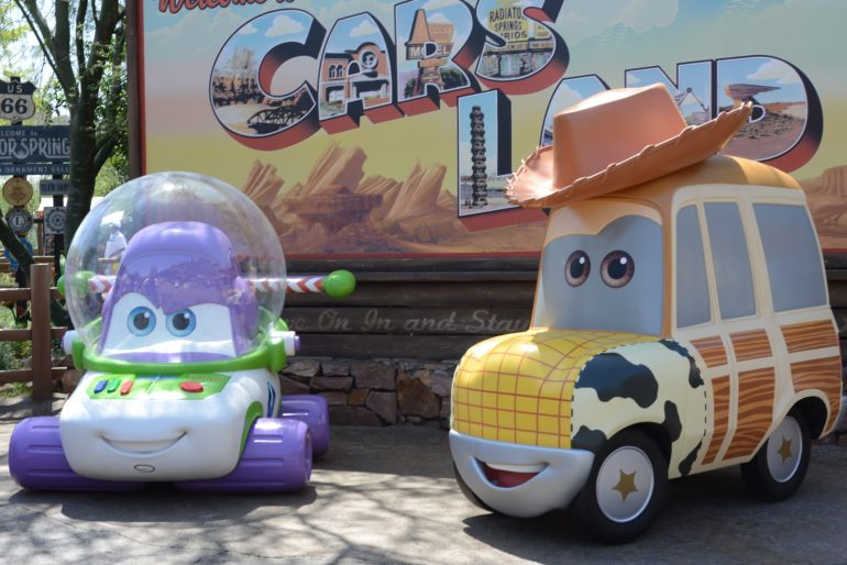Buzz and Woody Cars Land PhotoPass Entrance Dressed Up for Disneyland's Pixar Fest