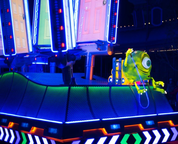 Mike Wazowski on a Paint the Night Parade Float for Pixar Fest in Disneyland's California Adventure