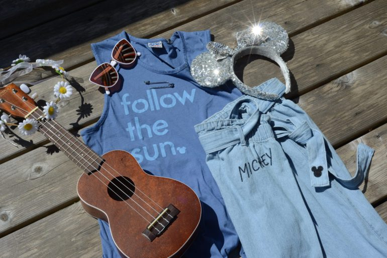 Follow the Sun Mickey Shirt with Denim Pants and Rose Gold Sunglasses by Junk Food Clothing Line from Target