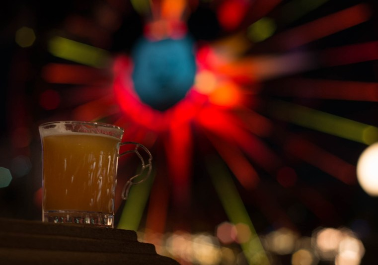 Warm Bourbon Cider with a Homemade Marshmallow (Festival of Holidays) - Tons to do at California Adventure for Adults #disneyland #vacation #planning