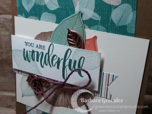 Close up of the wonderful make and take card from OnStage Stampin' Up! 2018