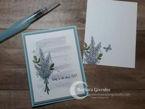 This is an easy card using the Lot of Lavender stamp set with a watercolored background.