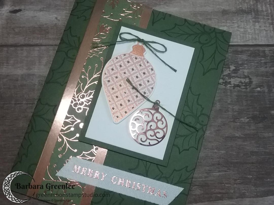 Mossy Meadow design using Stampin' Up!'s Brightly Gleaming Suite for my Christmas Card Stamp-a-Stack class.