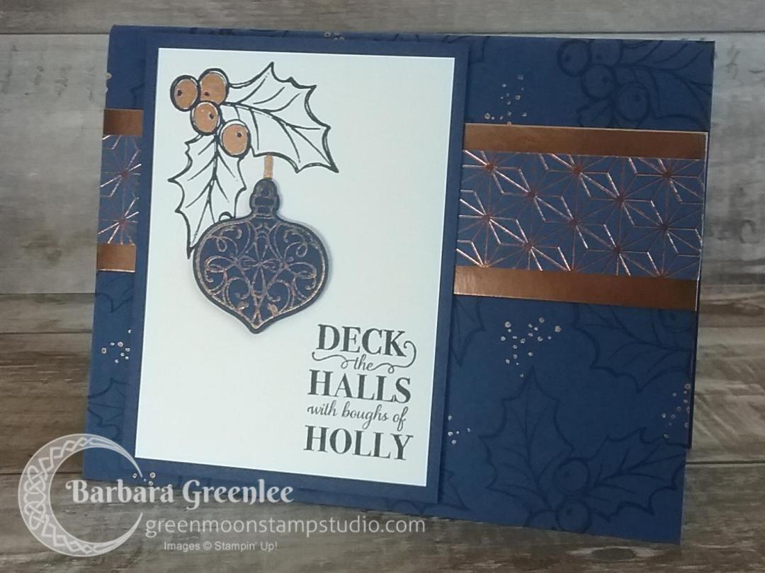 Night of Navy design using Stampin' Up!'s Brightly Gleaming Suite for my Christmas Card Stamp-a-Stack class.