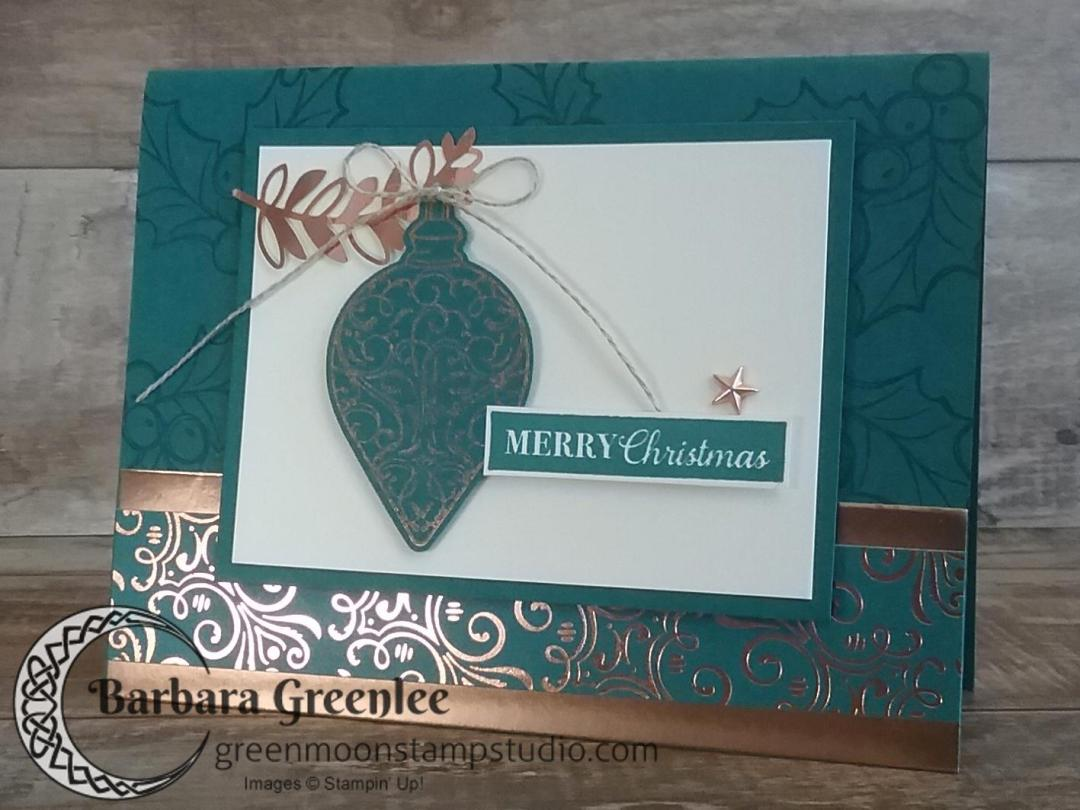 Pretty Peacock design using Stampin' Up!'s Brightly Gleaming Suite for my Christmas Card Stamp-a-Stack class.