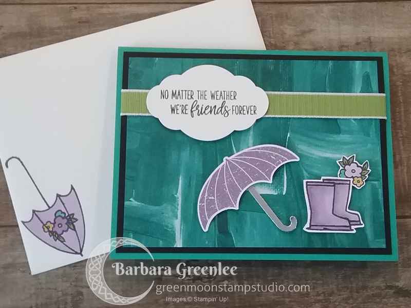 I love how my cute Under My Umbrella card turned out.  I couldn't wait to stamp and color in the little rain boots.