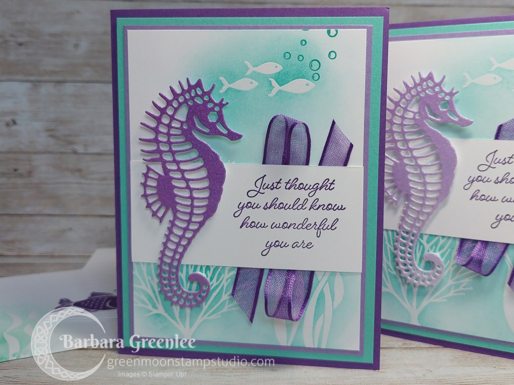 Seascape card stampin up using emboss resist