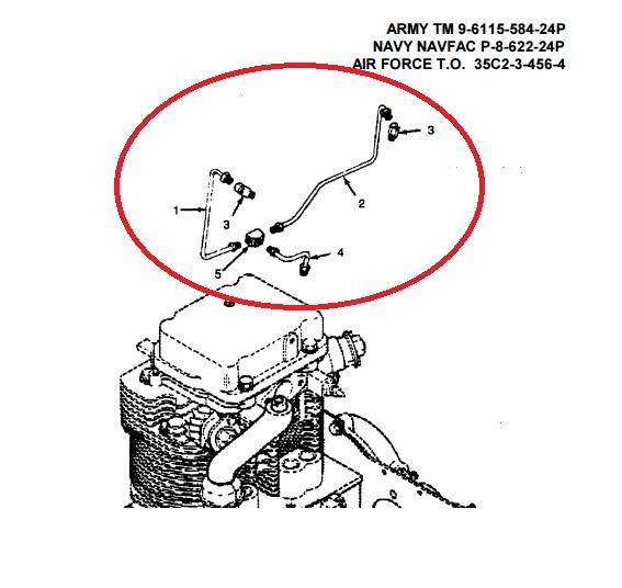 MEP002A Fuel Return Lines Onan 149-1057, Onan 149-1056