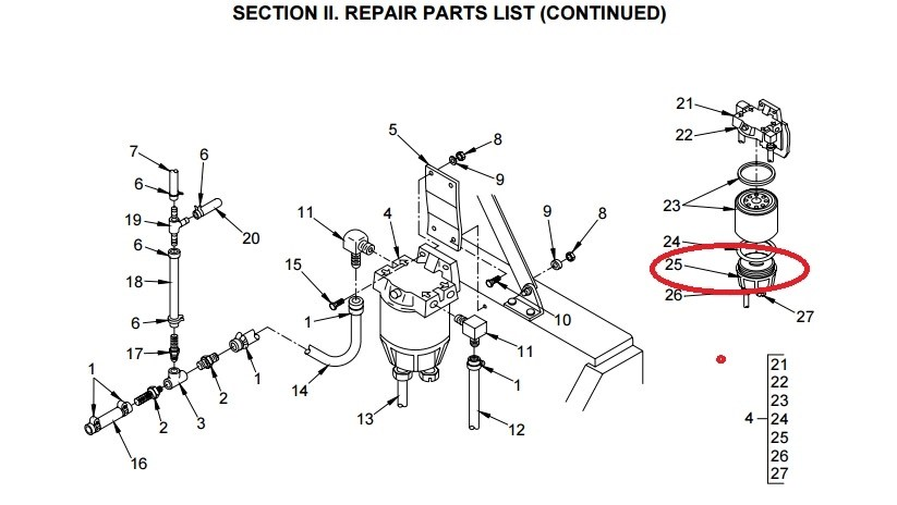 MEP831A Fuel Drain, Plug and Bowl Assembly for Water
