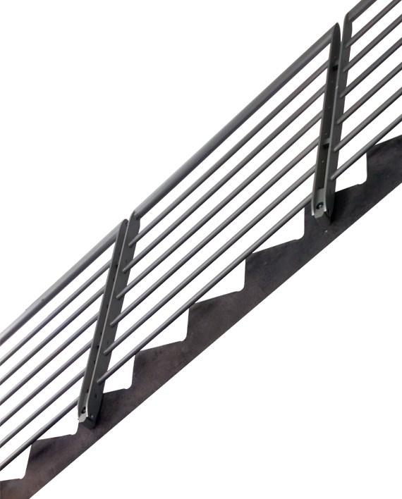 Epulum Railing For Stairs Green Oxen Designs   Metal Horizontal Stair Railing   Art Deco   Modern Style   Brushed Nickel   Split Level Foyer   Deck