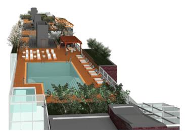 Roof deck and pool rendering by Gene Kaufman