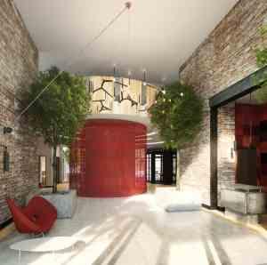211 McGuinness Boulevard's sleek lobby. Rendering by Gene Kaufman.