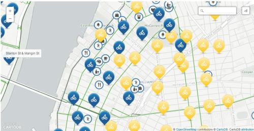 Williamsburg installed bike stations in blue. Yellow markers indicate future installation locations