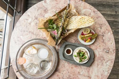 Fish kebab box with the traditional arak setup.