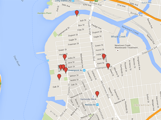 Greenpoint Gallery Night Map 3/18/16