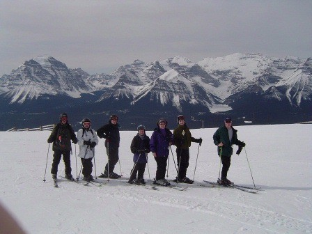 Paulie Gee with friends and family at Lake Louise, Alberta