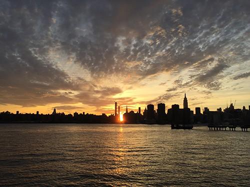 Manhattanhenge via Greenpoint. Photo: Megan Penmann