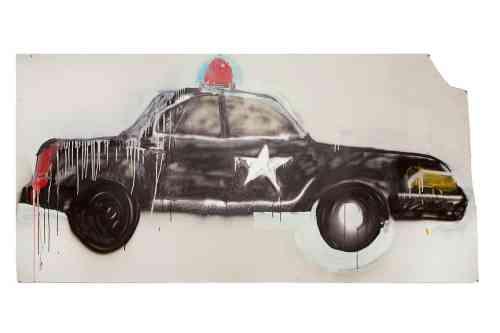 """Fantastic Black Police Car"", Ted McGrath, 2015, oil, ink, spray paint, house paint, oil stick, graphite on paper,"