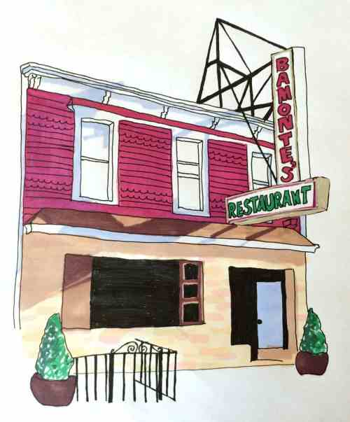 Bamonte's Restaurant. Illustration by Kenzie Kline.