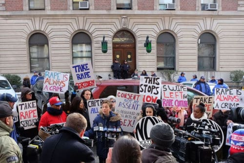 Protesters in front of the 94th precinct today. Photo: Julia Moak