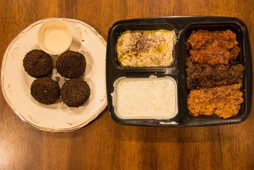 The assorted platter at Dar 525 and a side of falafel.