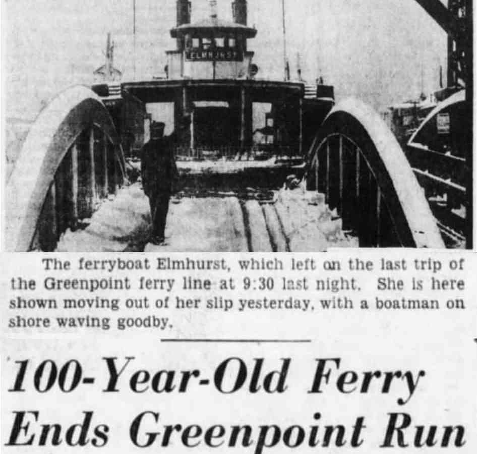 Greenpoint Ferry's final run - Bk Daily Eagle 2-12-1933