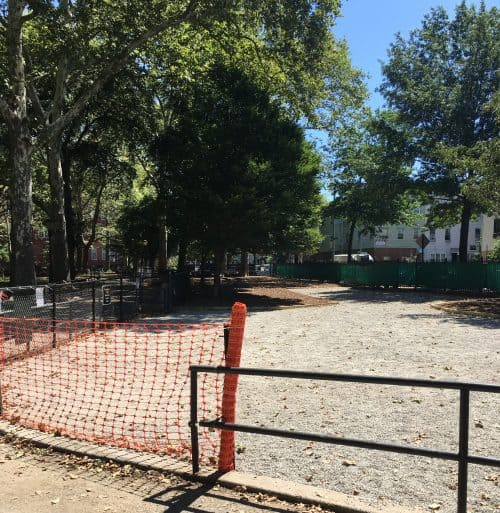 The refurbished McGolrick Park dog run, almost ready to re-open. Photo: Stephanie Valente