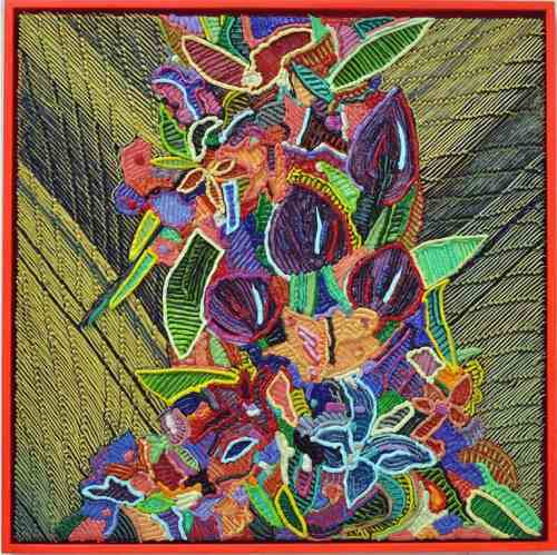 aroline Larsen, Acid Flowers, Oil on Canvas, 20 x 20 inches, 2017