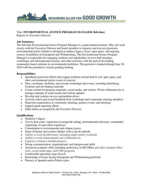NAG Job description