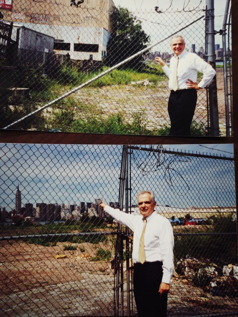 Two photos of Joe Lentol standing in front of the East River waterfront.