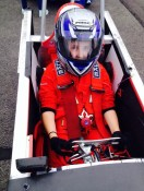Lydia ready for a few laps at the Greenpower Merryfield free practice