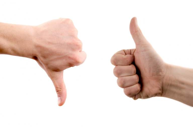 Hands with Thumbs Up and Down