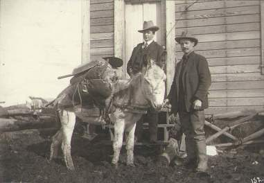 Two Prospectors Standing in Front of Building with Donkey Loaded with Gold Mining Pan, Shovel and other Supplies