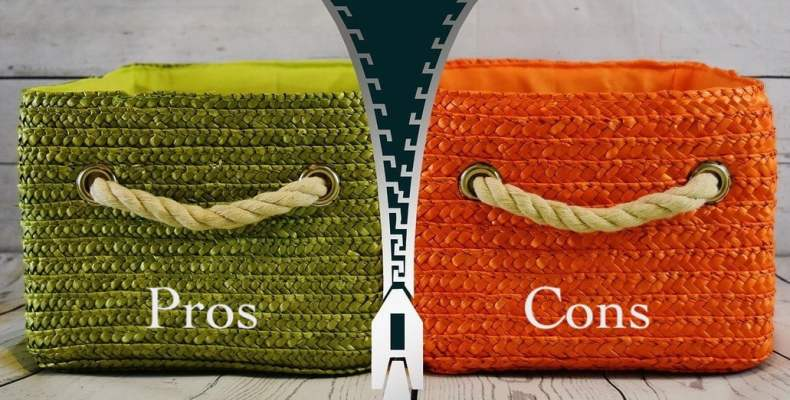 Green and Orange Baskets with Zipper Between