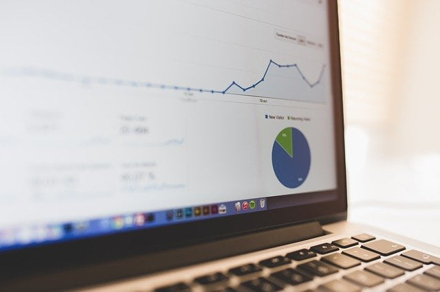 Website Visitors Chart on Laptop