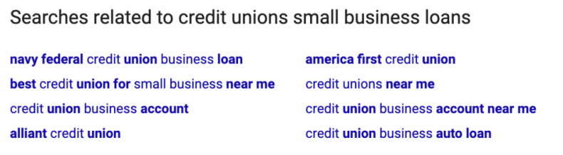 Credit Union Related Search Sample