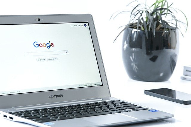 Google Homepage on Laptop