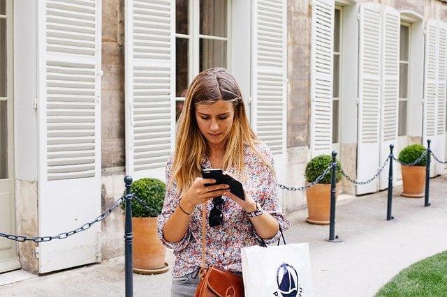 Girl Texting While Walking