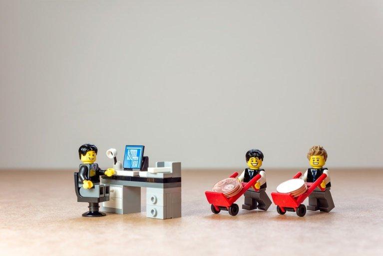 Lego Business Men with Wheelbarrows